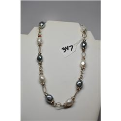 "Faux Pearl Necklace 18"" w/ Rhinestone Spacers, Silver Tone Chain"