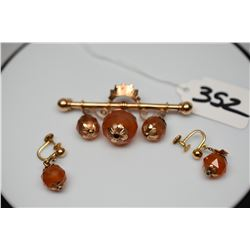 "10K Victorian Faceted Carnelian Earrings & Bar Pin Set - Earring 1 1/4"", Pin 2 1/2"""