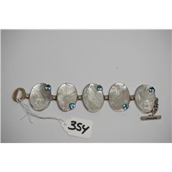 "Blue Topaz & Mother of Pearl Bracelet 9"" - Sterling Silver, 5 MOP Pieces w/Blue Topaz"