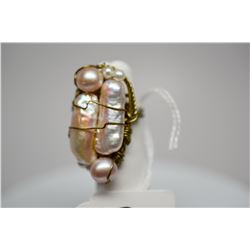 "8-Pearl Ring (Size 5) 1 1/2"" x 3/4"", Champagne Hues, Handmade Gold Tone Wire Mount"