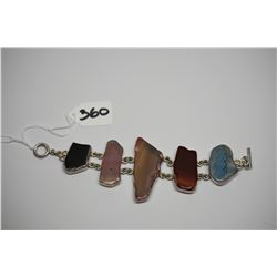 """Agate & Sterling Silver Bracelet 7 1/2"""", 5 Multi-Colored Polished Agates 1"""" to 2 1/4"""""""