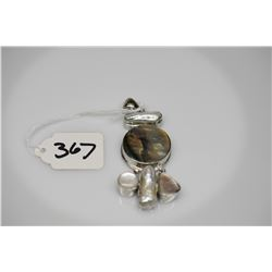 """Pearl & Abalone Shell Pendant - 2 3/8"""" x 1 1/4"""", Abalone Shell Center, Silver Alloy"""