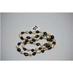 """Faux Pearl Necklace 31"""" w/ 8 Alernating Black & White Baroque Pearls"""