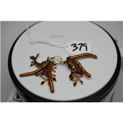 "Pair: Costume Dangle Earrings 2 1/4"" - Gold/Brown Tones, Composite Branches, Plastic Beads"