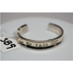 "Tiffany & Co. Sterling Silver Bangle Bracelet 2 1/2"" X 1/2"" Wide, From 1837 Collection, Triangle Tap"