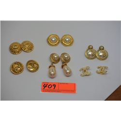 6 Pairs Designer Fashion Clip Earrings - Chanel etc.