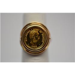 1983 King Kalakaua Commemorative Gold Coin Ring w/ Hawaii Coat of Arms on Reverse