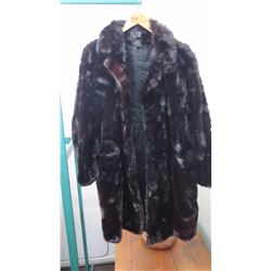 Authentic Fur Coat - Brown-Dyed Mink 3/4 Mink Coat (Manufacturer Unknown)
