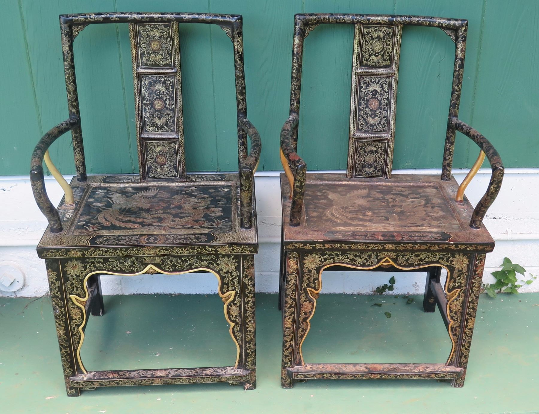 Image 1 : Pair Of Antique Chinese Chairs   Black Lacquer W/Handpainted Gilt  ...