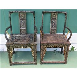 Pair of Antique Chinese Chairs - Black Lacquer w/Handpainted Gilt (One Slightly Faded)