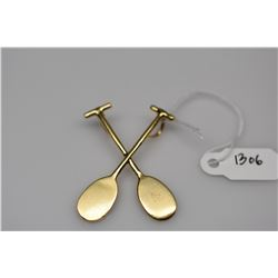 "14K Gold ""Two Canoe Paddles"" Pendant - 14K Yellow Gold, 4.2 g"