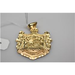 14K Gold Hawaiian Coat-of-Arms Pendant  - 14K Yellow Gold, 8.8 g