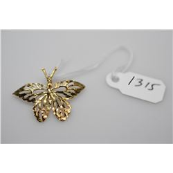 "14K Gold ""Butterfly"" Pendant - Reticulated Butterfly, 14K Yellow Gold, 1.1 g"
