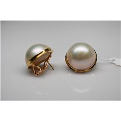 Cultured Mabe Pearl Earrings - 19mm Pearl, 14K Yellow Gold Posts, 14.7 g, Clip Earrings