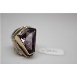 12.0 ct Kite-Shaped Amethyst Ring - 20.9x16x9.2mm Amethyst (12.0 ct), 925 Silver, 11.3 g