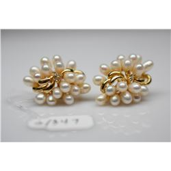 Pearl Cluster Earrings w/Diamonds - 17 Pearls, 3 Diamonds (.03 ct), 14K, 10.2 g, 1 Earring Missing 1