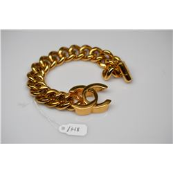 "Chanel Turn Lock Chain Link Bracelet - 7 1/2"" Length, 18K Yellow Gold-Plated"
