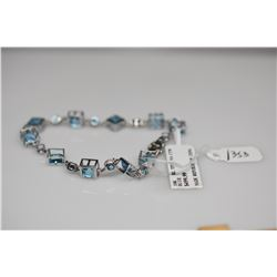"Blue Topaz Link Bracelet - 7 1/2"" L, Square & Round 5mm Stones (9.5 ct), 10K White Gold, 6.7 g"