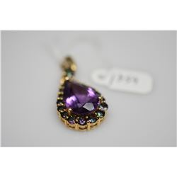 Pear-Shaped Amethyst Pendant 16x11.1x7.6mm Amethyst (8.0 ct), 19 Topaz (.37 ct), 5.1 g
