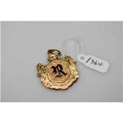 "14K Gold & Black Enamel Hawaiian Royal Coat­ Of-Arms Pendant w/Initialed ""R"", 14K Yellow Gold, 7.2 g"