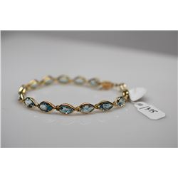 "Link Bracelet w/15 Pear-Shaped Blue Topaz  (12.75 ct) - 7 3/8"" Lenth, 14K, 8.8 g"