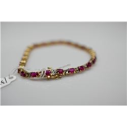 "6 ct Rubies & Diamonds Link Bracelet - 7 1/4"" L, 24 Rubies 3x5mm (6.0 ct), 48 Diamonds (.48 ct, Impe"
