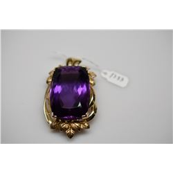 150 ct Amethyst Pendant 42x28x18.5mm Rectangle Cut (150.0 ct), 14K Gold, 50.5 g, Minor Scratches
