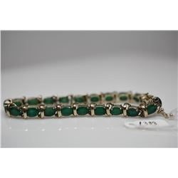 "Emerald Link Bracelet - 7 1/4"" Length, 21 Emeralds 5x7mm (15.75 ct), 14K Gold, 2.1 g"
