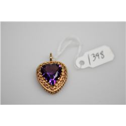 14K Amethyst Heart Pendant 12.5x11.5mm (4.0 ct), 14K Gold, 3.5 g