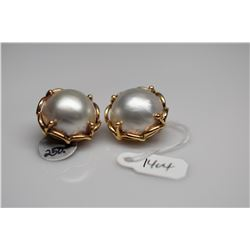 18.5mm Cultured Mabe Pearl Clip Earrings - 14K Yellow Gold, 21.2 g