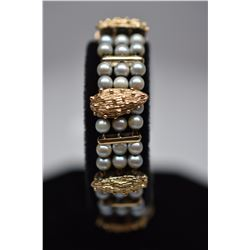 "Lucien Piccard Cultured Pearl Link Bracelet - 6 1/2"" L, (96) Pearls, Gold Bar Links, 14K, 34.2 g"