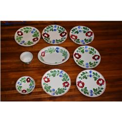 Vintage Lokelani China - 9 Pieces (6 Round Plates, Oval Server, Cup & Saucer)