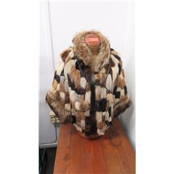 Authentic Fur Coat (Poncho) - Multi-Colored Mink (Manufacturer Unknown)