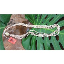 "Niihau Shell Lei - 5 Strands, 36"" Momi Lenalena 'Ahiehie (""Dove Shells w/Yellow Shades)"