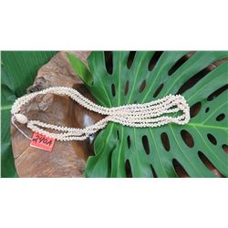 "Niihau Shell Lei - 3 Strands, 38"" Momi Kua'ula (Off White ""Dove Shells"")"