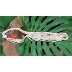 "Niihau Shell Lei - 5 Strands, 49"" Momi (Various Colors ""Dove Shells""), Pikake Lei Style"