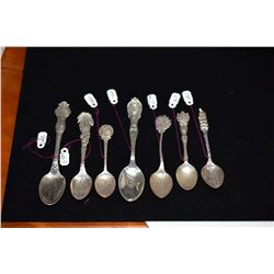 "7 Sterling Silver Hawaiian Motif Souvenir ""Honolulu"" & ""Diamond Head"" Spoons"" (one marked H. Culman0"