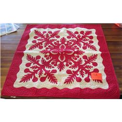 "New Quilted Blanket - Hand-Stitched, White w/Red Design, 51""x51"", Non-Authentic, Made in the Philipp"