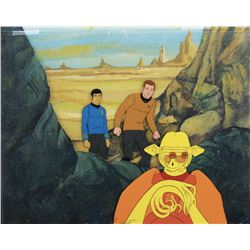 """Captain Kirk"", ""Spock"" and Alien production cels & background from Star Trek: The Animated Series."
