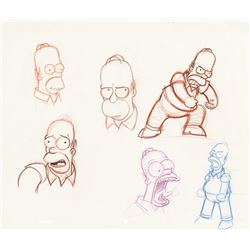 (5) The Simpsons character production model drawings.