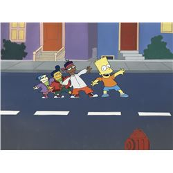"""Bart Simpson"" and friends production cel and custom painted background from the music video, ""Do th"