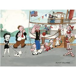 "Myron Waldman watercolor painting featuring ""Popeye"" and friends."