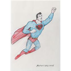 "Myron Waldman watercolor painting featuring ""Superman""."