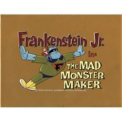 """Frankenstein Jr."" and ""Buzz Conroy"" production title cels on a matching production background ."
