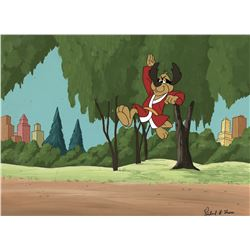 """Hong Kong Phooey"" production cel on a production background from The Hong Kong Phooey Show."