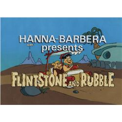 """Fred Flintstone"" and ""Barney Rubble"" in the ""Flintmobile"" production title cels with background."