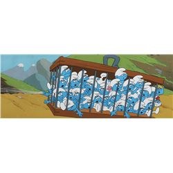 The Smurfs pan production cels on a production background featuring all the characters.