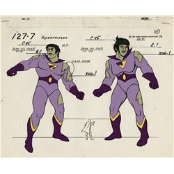 "(2) model cels featuring ""Wonder Twins"" and ""Wonder Woman"" from Super Friends."