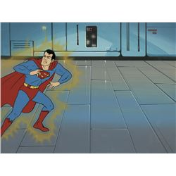 """Superman"" production cel on a production background from Super Friends."