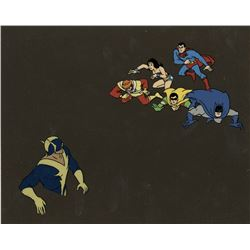 """Superman"", ""Wonder Woman"", ""Firestorm"", ""Batman"", ""Robin"" and ""Black Vulcan"" production cels on b/g"